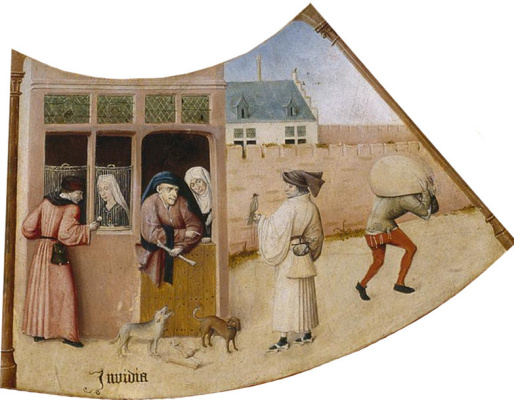 Hieronymus Bosch. Envy. The seven deadly sins and the Four last things. Fragment