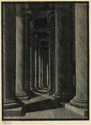 Maurits Cornelis Escher. Night Rome: St. Peter's Colonnade