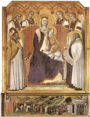 Pietro Lorenzetti. Madonna with angels between Saint Nicholas and prophet Elisha