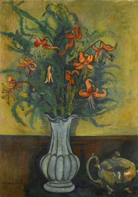 Suzanne Valadon. Vase with flowers and a kettle