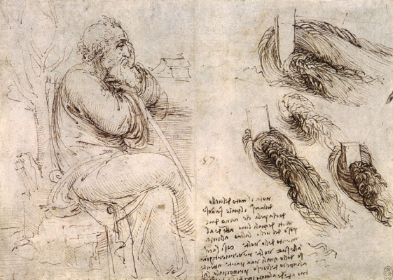 Leonardo da Vinci. Sitting the old man and sketches of the movement of water