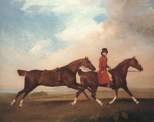Джордж Стаббс. Уильям Андерсон с двумя скаковыми лошадьми