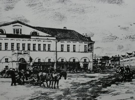 """Yuon Fedorovich Konstantin. """"Sergiev Posad"""". Old hotel »Autolithography. State Tretyakov Gallery"""