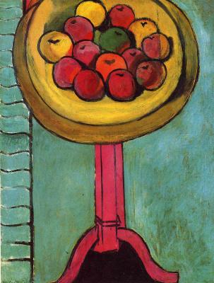 Анри Матисс. Яблоки на столе, зеленый фон