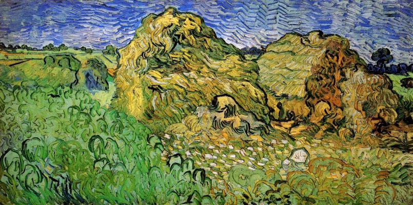 Винсент Ван Гог. Поле с пшеничными стогами