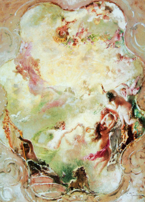 Konstantin Makovsky. A sketch of the painting of the ceiling of the mansion for P. P. von Derviz in St. Petersburg