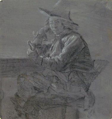 Pieter de Hooch. Sitting at the table man