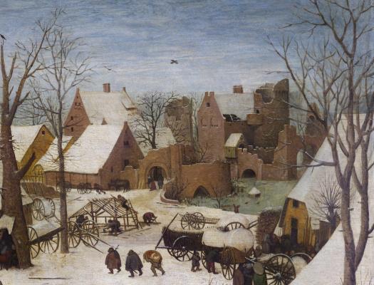 Pieter Bruegel The Elder. The census at Bethlehem. Fragment 2. Street and gate