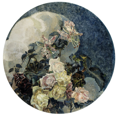 "Mikhail Vrubel. Roses and lilies. Triptych ""Flowers"" for the house of E. D. Dunker in Moscow. The left part of the triptych"