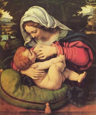 Андреа Соларио. Мадонна с зеленой подушкой, ок.1507-1510