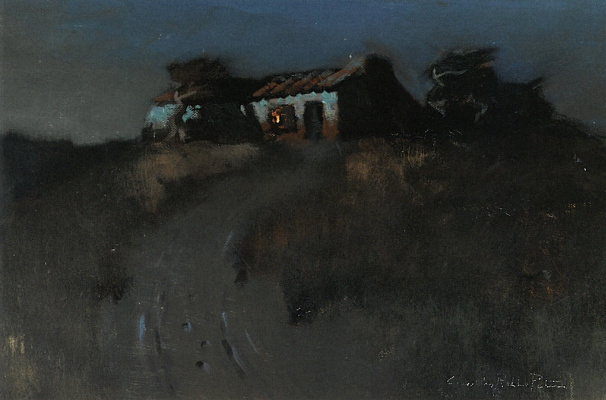 Charles Rollo Peters. Adobe building on the hill