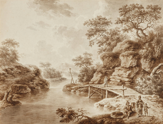 Unknown artist. Landscape with a Wooden Bridge and Travellers