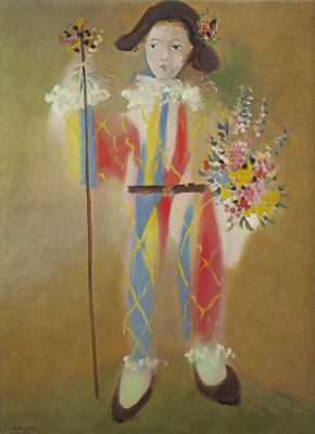 Paulo dressed as harlequin with flowers