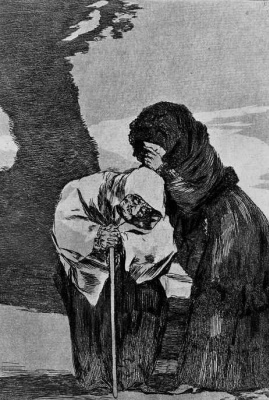 """Francisco Goya. """"Not a word to anyone!"""" (Series """"Caprichos"""". page 28)"""