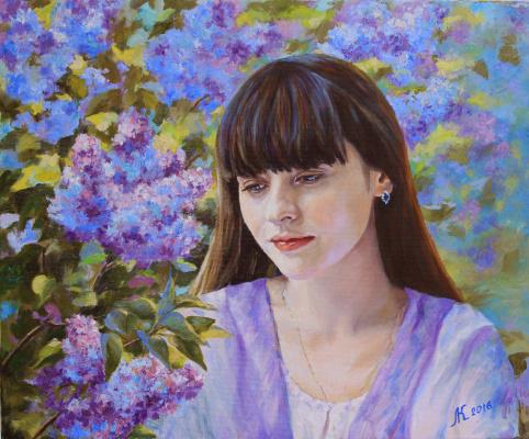Mila Kaneyeva. The girl in the flowered garden