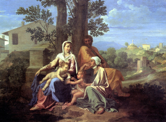 Nicola Poussin. Holy family in a landscape