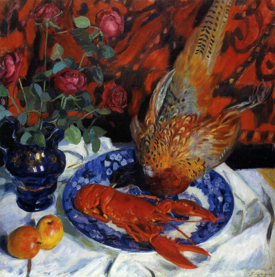 Boris Mikhailovich Kustodiev. Still life. Lobster and pheasant