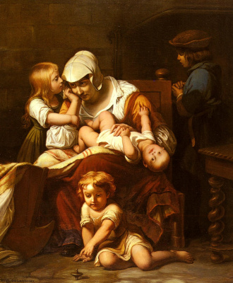 Paul Delaroche. A young mother and her children