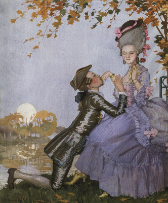 The young man kneeling before a lady