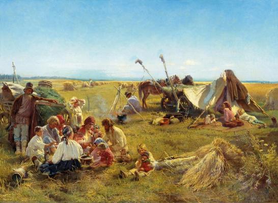 Konstantin Makovsky. Farm dinner at harvest time