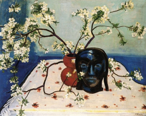 Max Pehshtein. Still life with branches of blossoming cherry