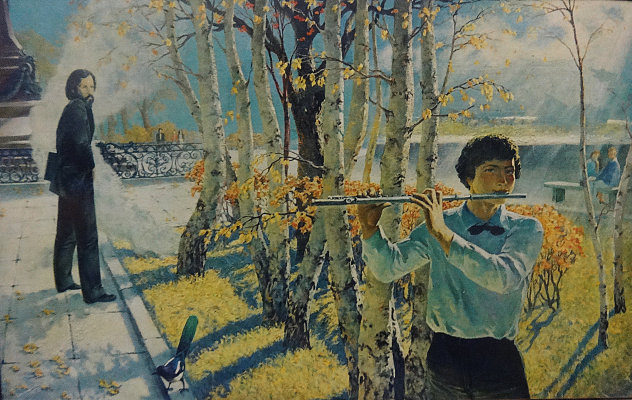 "Valery Petrovich Erofeevsky. Dedicate to A. Shpirko ""Melody of the Irkutsk Autumn"", 2000, oil on canvas, m., 100x160"