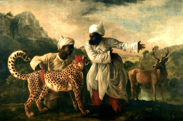 George Stubbs. Cheetah and stag with two Indians
