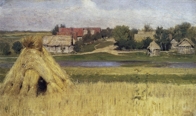 Isaac Levitan. Sheaves and a village beyond the river