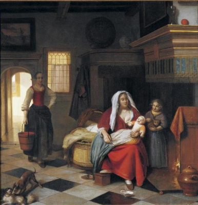 Pieter de Hooch. Mother with children by the fireplace and a servant with a bucket of water