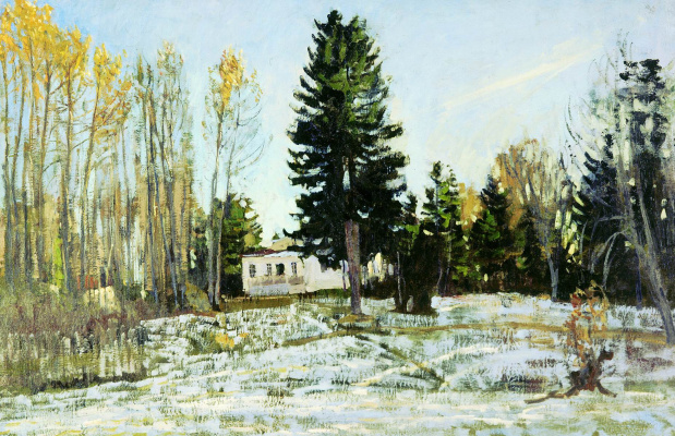 Stanislav Yulianovich Zhukovsky. Old HOMESTEAD in winter