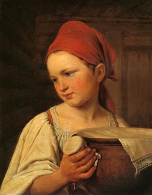 Alexey Gavrilovich Venetsianov. Peasant woman with a jug of milk