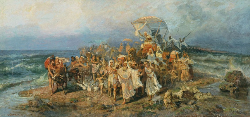 Wilhelm Kotarbinsky. The transition of the Jews through the Red sea