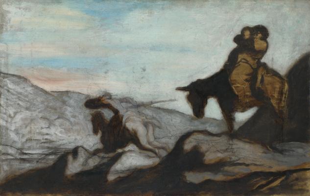 Honore Daumier. Don Quixote and Sancho Panza