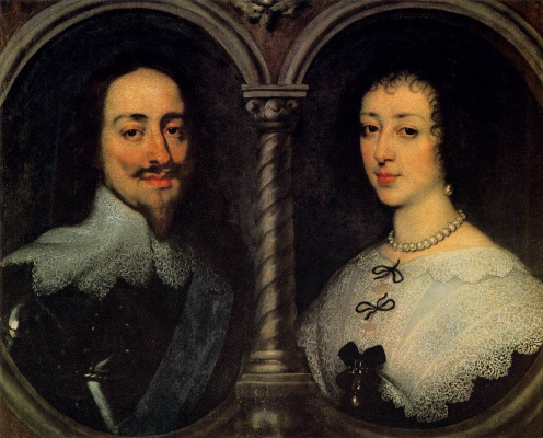 Anthony van Dyck. Double portrait of king Charles I of England and Queen Henrietta Maria of France