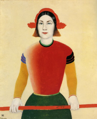 Kazimir Malevich. Girl with red flagpole