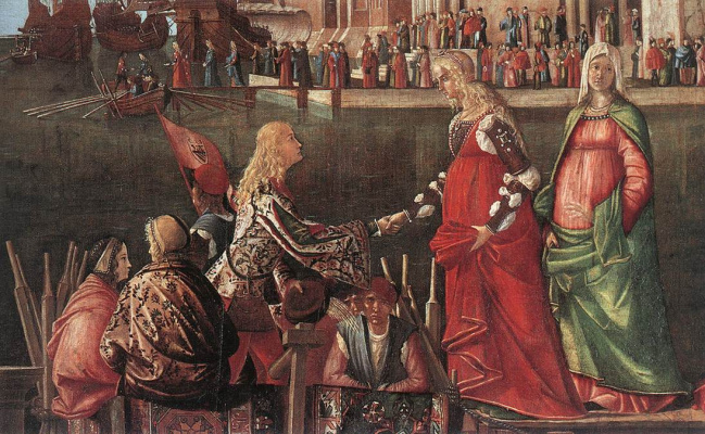 Vittore Carpaccio. Meeting of the betrothed couple and the departure of the pilgrims