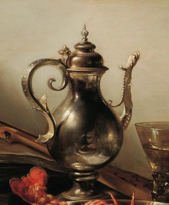 Питер Клас. Натюрморт с лобстером, кувшином, скрипкой, лимоном и ягодами. Фрагмент 1. Автопортрет в отражении