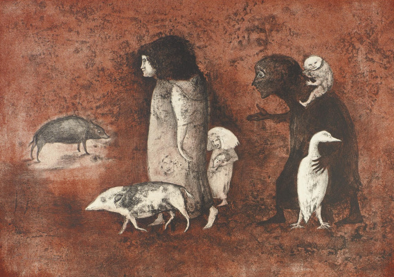 Leonora Carrington. People and pigs