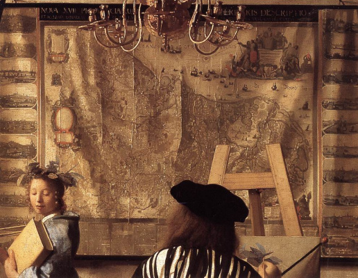Jan Vermeer. Allegory of painting. Fragment