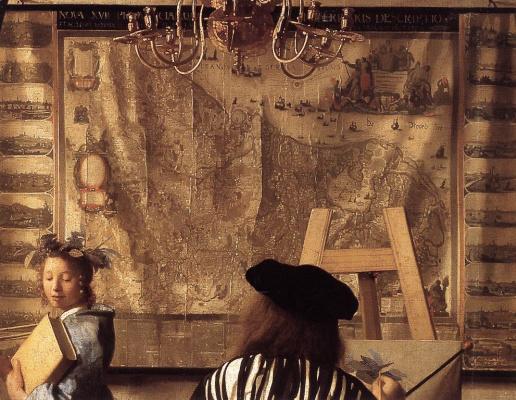 Jan Vermeer. Allegory of painting. Fragment