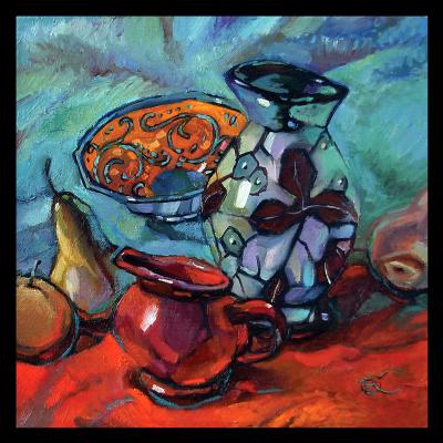 Olga Ray. Still life with colored ceramics