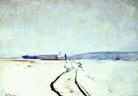 John Henry Twachtman. Along the river,winter