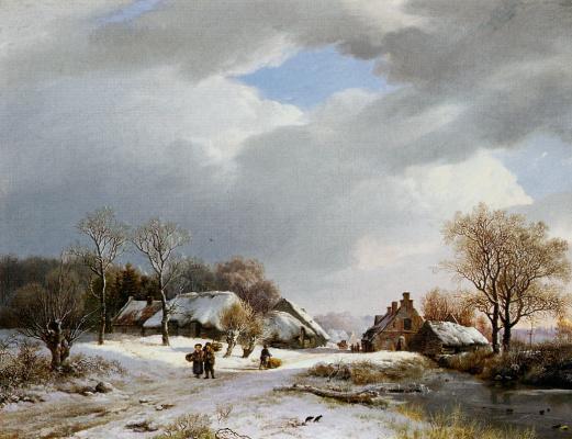 Баренд Корнелис Куккук. Зимний пейзаж в Недер-Рейн