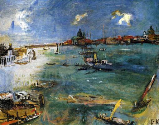 Oskar Kokoschka. Venice - boats on Dogana