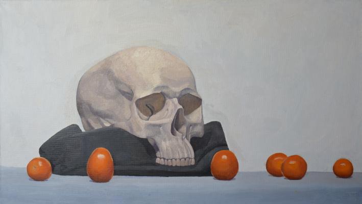 Pavel Viktorovich Petrov. Still life with skull and cherry tomatoes