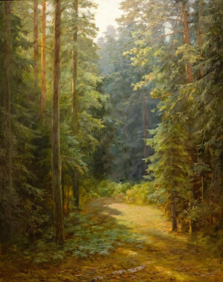 Kondrat Evdokimovich Maksimov. In the reserved forest