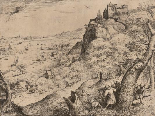 Питер Брейгель Старший. Альпийский пейзаж с охотником на зайцев
