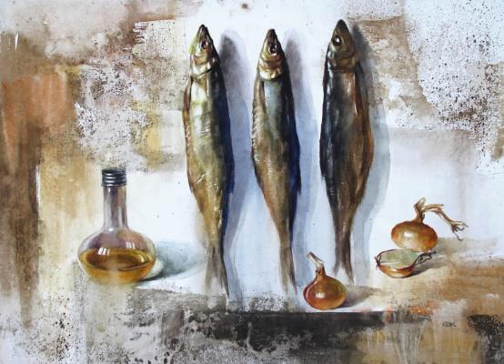 Александр Карпан. Натюрморт с копчёной рыбой