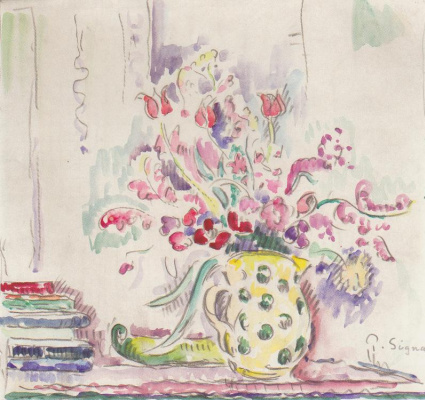 Paul Signac. Still life with bouquet of flowers