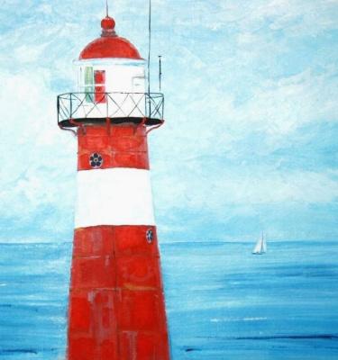 Natalia Stepanova. Lighthouse. Red and white